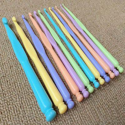 Conjunto De 12 Tamanhos De Agulhas De Crochê Tricô Artesanato TECELAGEM Agulhas De Tricô Fio De Ferramenta De Plástico