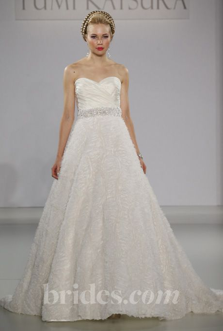 """Brides.com: Yumi Katsura - Fall 2013. """"Athens"""" strapless taffeta A-line wedding dress with a beaded belt, ruched sweetheart neckline, and embroidered tulle skirt, Yumi Katsura See more wedding dresses in our gallery."""