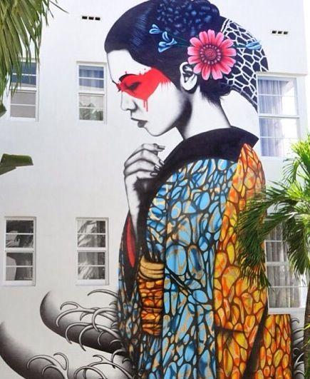 Fresque murale par le street-artiste Fin Dac, à Miami