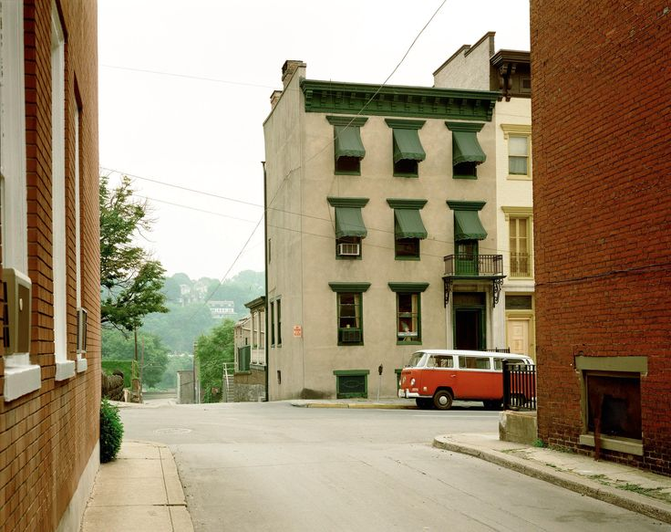 """Der Rote Bulli"" (The Red Bus) Church and Second Streets, Easton, Pennsylvania, June 20, 1974"