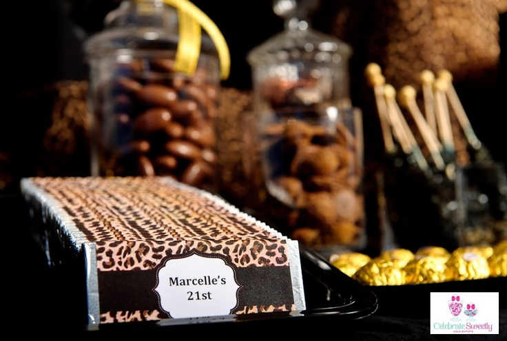 Leopard print, printable chocolate wrappers designed by Kristy Gray Designs, lolly buffet styled by Celebrate Sweetly Lolly Buffets, Mackay, Qld