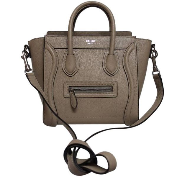 Pre-Owned Celine Dune Pebbled Leather Nano Bag (£2,520) ❤ liked on Polyvore featuring bags, handbags, celine, bolsas, dune, preowned handbags, brown purse, handbags purses, hand bags e celine handbags