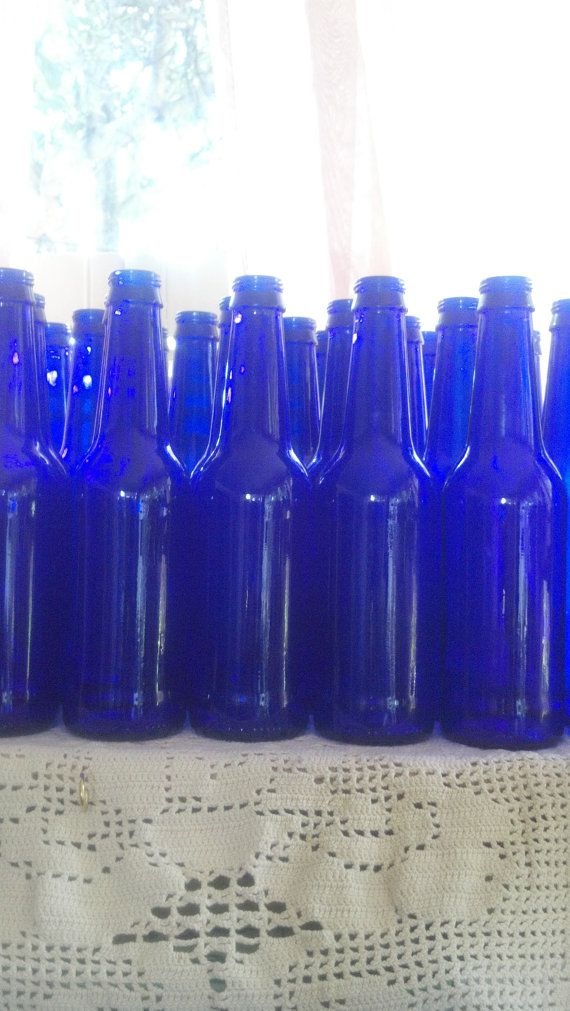 Lot of 12 Twelve Cobalt Blue Glass Bottles 9 tall  by NiceGlass4u2, $19.99