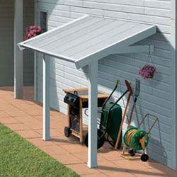 Auvent pour abris de jardin PVC gris-blanc GROSFILLEX