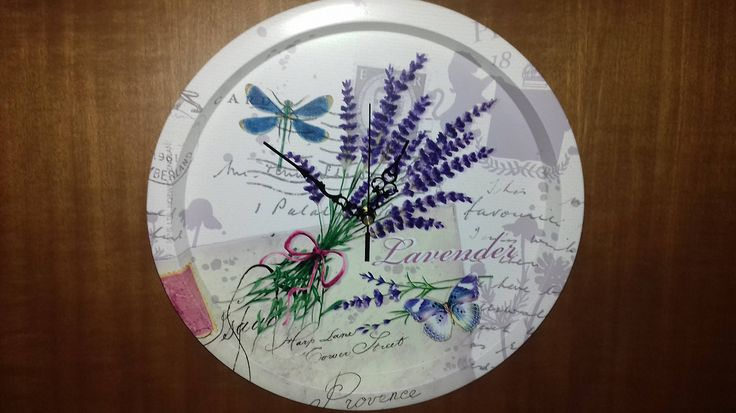 "Tray Wall Clock Metal **LEVANDER** diameter 33cm X 3,5cm (13""x 1,38"")thickness by AlternativeByGeorge on Etsy"