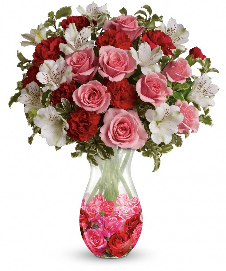 A bouquet of light pink and red blooms is the perfect
