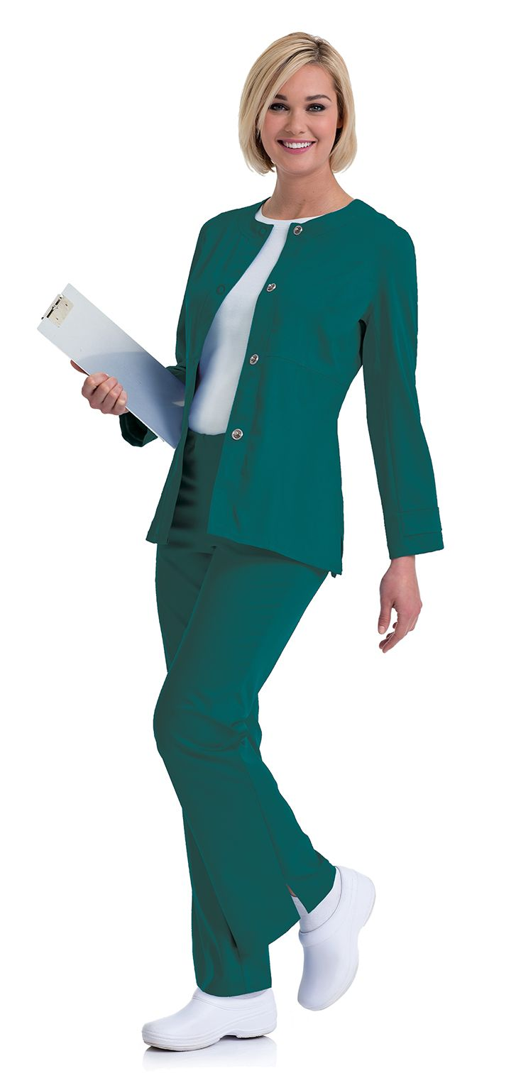 "Urbane Ultimate: ""Mindi"" jacket in Hunter. #urbane #scrubs #medical #fashion #urniforms #hospital #nurse #nursing #rn #lpn #lvn #cna #dental #hygienist #vet #tech #spring #green #march #stretch"