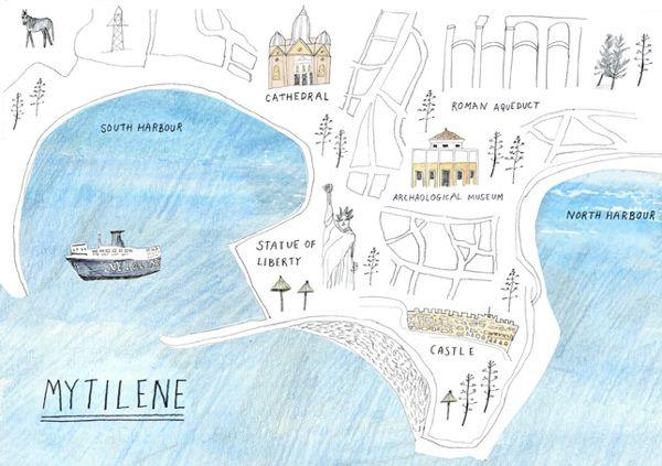 Map of Mytilene, Greece