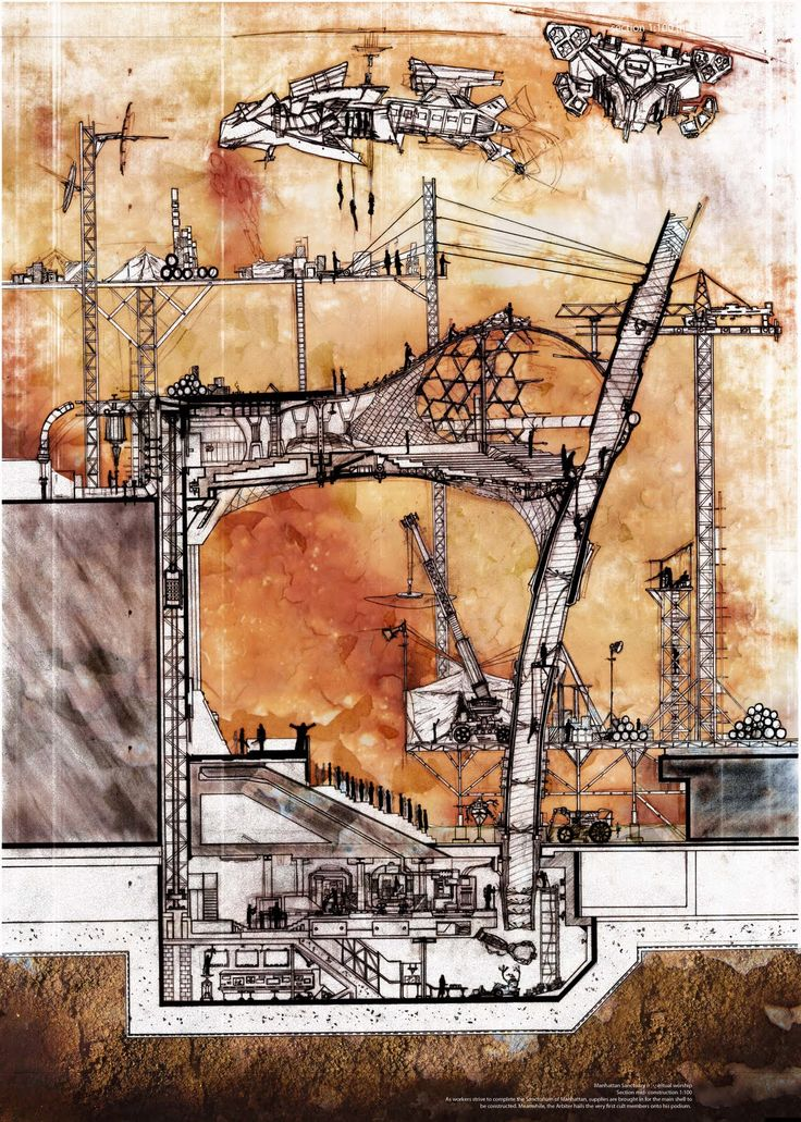 Section - Laurence Walter, Architecture, Oxford Brookes. I like the rough background colours and textures in the drawing!