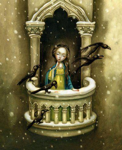 """Una regina sedeva ricamando accanto alla finestra aperta, ricamando e guardando la neve, si punse un dito con l'ago e tre gocce di sangue rosse come rubini caddero sul bianco manto nevoso. Tanta era la bellezza di quelle tre stille rosso fiamma sul bianco immacolato che la regina pensò: """"Oh, se potessi avere una bambina dai capelli neri come l'ebano, dalle labbra rosse come il sangue e dalla pelle bianca come la neve!"""" Poco dopo, diede alla luce una bambina a cui fu dato il nome di…"""