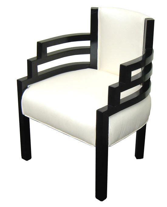 "Stylish and comfortable streamline design armchair was designed by Karl Emmanuel Martin (KEM) Weber (1889 -1963) in the 1930's. Finished in high gloss black lacquer and pearly white leather, the chair is the height of American Modern art deco. The ""Stair-step"" curved arms offer a contrast to the vertical lines of the legs and back. The chair measures 20 ½"" wide x 22"" deep and 33 ½"" high"