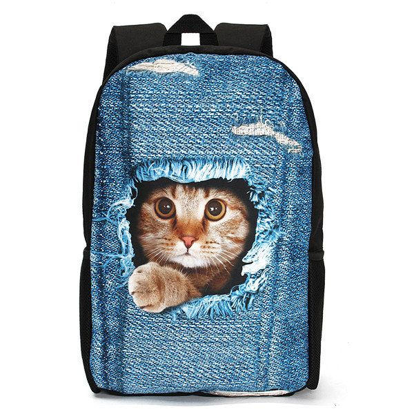 3D Cat Backpack Dog Pattern Denim School Book Bags Travel Bags - US$22.99  #men #women  #bags #fashion