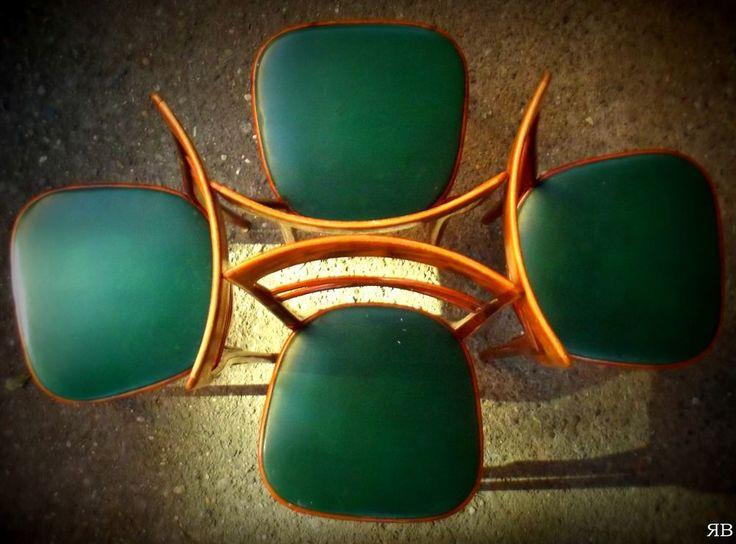 SEDIE sala ANNI cinquanta '50 - seduta in SIMILPELLE VERDE