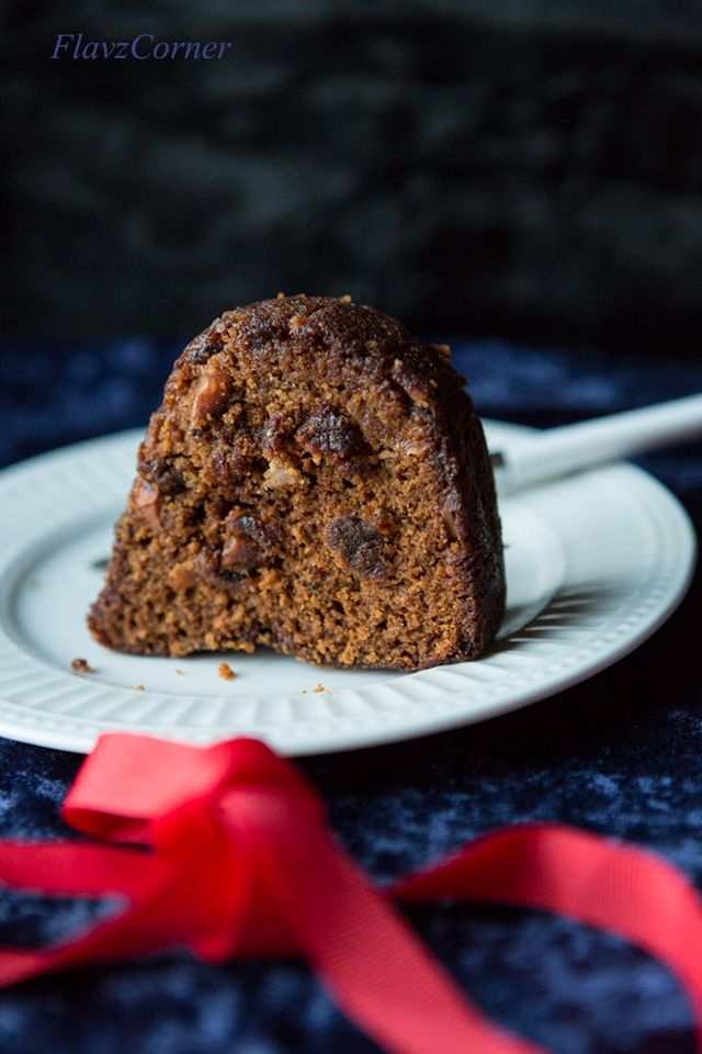 Christmas Fruit Cake with loads of dry fruits soaked in red wine and flavored with dark caramel syrup and a blend of spices.  This moist and rich cake is a must for Christmas time!!!