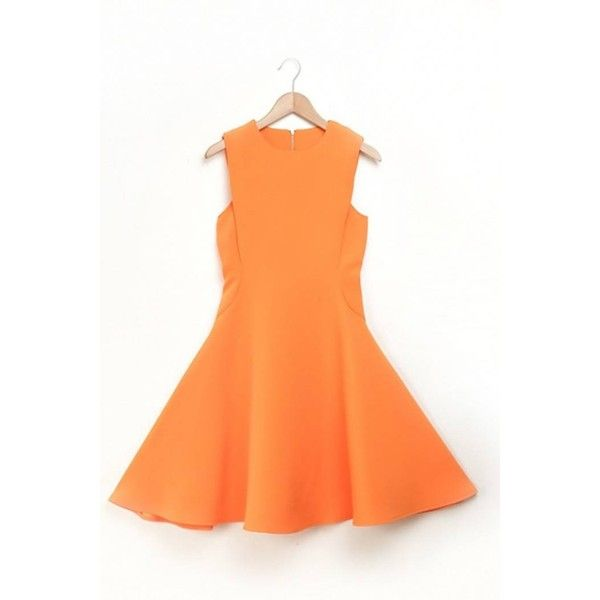 Yoins Sleeveless Skater Midi Dress (2.990 RUB) ❤ liked on Polyvore featuring dresses, orange, midi party dresses, red sleeveless dress, red midi dress, orange skater dress and night out dresses