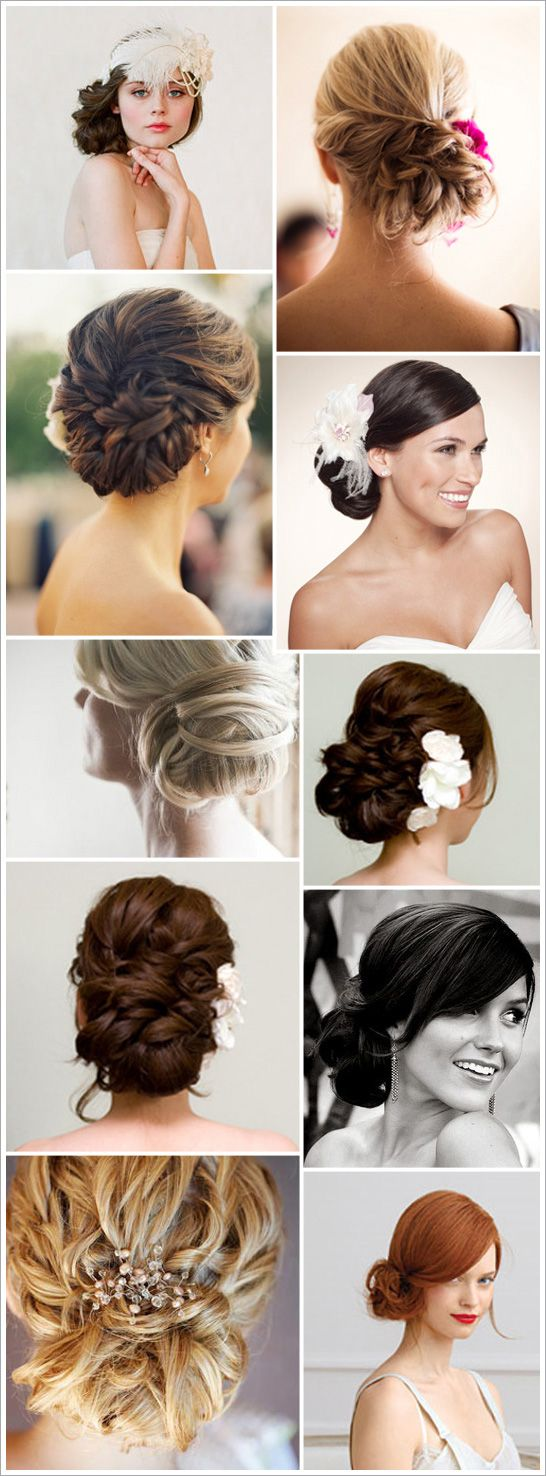 Various updo wedding formal hairstyle pins romantic hair prom bridesmaids bridal