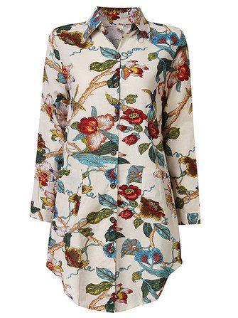 Vintage Women Printing Long Sleeve Loose Cotton Blouse at Banggood