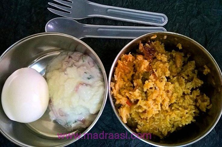In Box - Chicken Briyani, Boiled Egg and Onion Raitha  Recipe for Chicken Briyani - https://madraasi.com/2014/07/30/chicken-briyani-chettinad-style/  Recipe for Onion Raitha - https://madraasi.com/2014/07/30/onion-and-tomato-raita/  #madraasi #lunchbox #lunchboxrecipes #lunchbag #kidslunchbox #lunchboxideas #mylunch #Indianlunchbox #mylunch #lunchboxrevolution #lunchtime #tamillunchbox #southIndianlunchbox #southIndianlunchboxideas #tamillunchboxideas #Nonvegetarianlunchbox