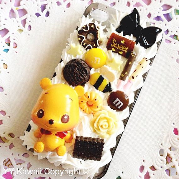 Custom Winnie the Pooh and chocolates decoden phone case for iPhone 4/4s 5, Samsung Galaxy S2 S3 S4 Mini and Note
