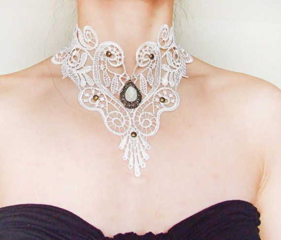 white lace necklace - bridal necklace - wedding large bib choker - victorian beaded gothic gift for her