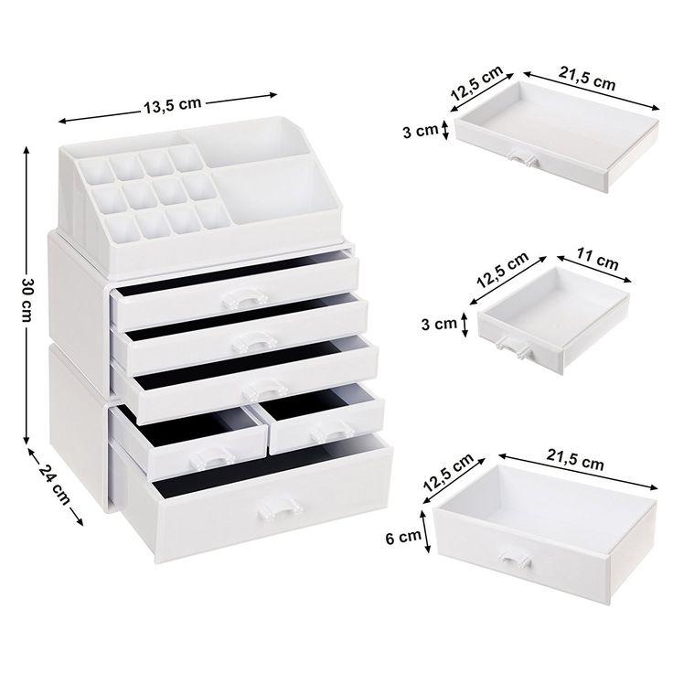 Songmics Organizador para cosméticos Material acrílico 3 en 1 Cajas de maquillaje apilables 6 cajones 24 x 13,5 x 30 cm (Largo x Ancho x Alto) Blanco crema JKA009W: Amazon.es: Hogar