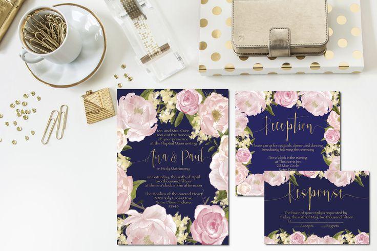 Navy + Blush + Gold Wedding Invitation Set