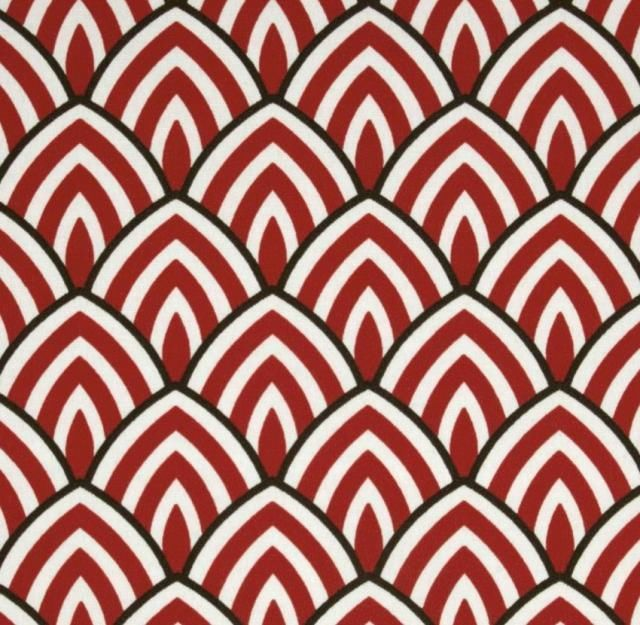 Outdoor/ Indoor ~ Upholstery~ART DECO Style~ Red White and Black~REMNANT~ Fabric in Crafts, Fabric, Upholstery, Drapery | eBay