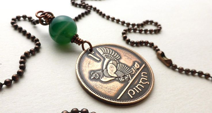 Irish necklace, Coin necklace, Chicken necklace, Coin jewelry, Animal necklace, Green Agate bead, Irish harp, Upcycled necklace, Hen, 1968 by CoinStories on Etsy