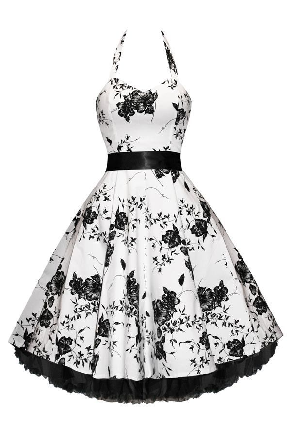 Hearts And Roses London White Floral 50s Rockabilly Pinup