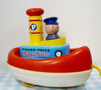 Vintage Fisher Price Tuggy Tooter 1967 U.S.A. old toy oud 1967 60's boot boat