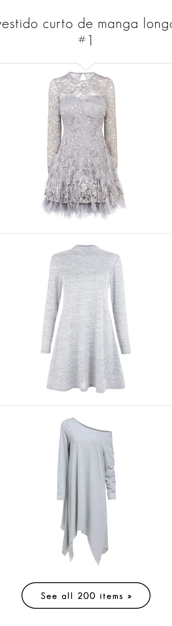 """vestido curto de manga longa #1"" by kaliane-espanavelli-lobo ❤ liked on Polyvore featuring dresses, vestidos, short dresses, grey, naturals, gray cocktail dress, gray lace dress, grey dress, grey lace dress and grey swing dress"
