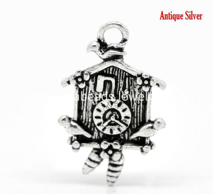 DoreenBeads 20 Шт. Антикварные Серебряные Часы С Кукушкой Шарм Подвески 26x16 мм (1 x5/8) (B20960), иу