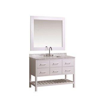 "Design Element London 48"" Vanity Set with Open Bottom - White   Free Shipping - Modern Bathroom"