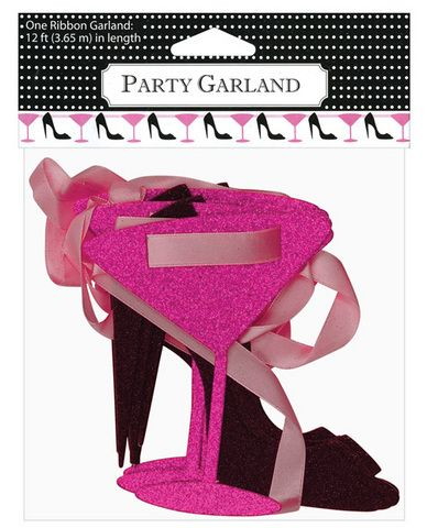 12 ft martini and heels glitter ribbon garlandLong Ribbons, Parties Supplies, Heels Glitter, Parties Decorations, Bachelorette Parties, Glitter Ribbons, Ft Martinis, High Heels Shoes, Ribbons Garlands