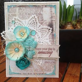 Card with Foamiran Flowers. Homemade Foamiran Flowers and flowers from Prima. Keyhole embellishment is made with IOD Vintage Art...