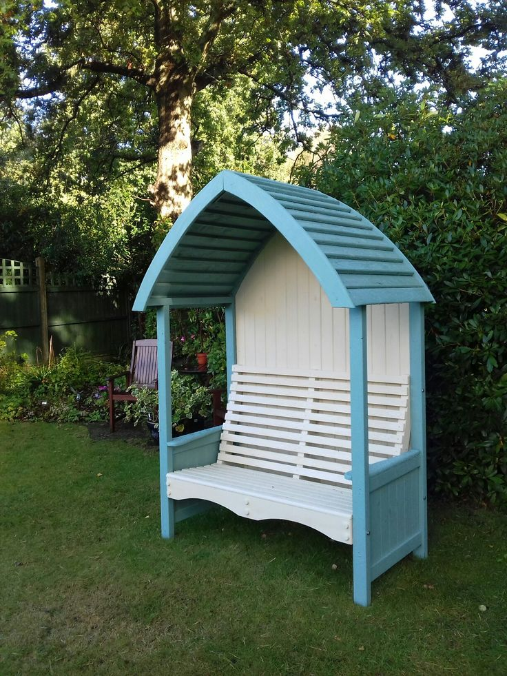Garden arbour made from treated timber and mainly jointed.