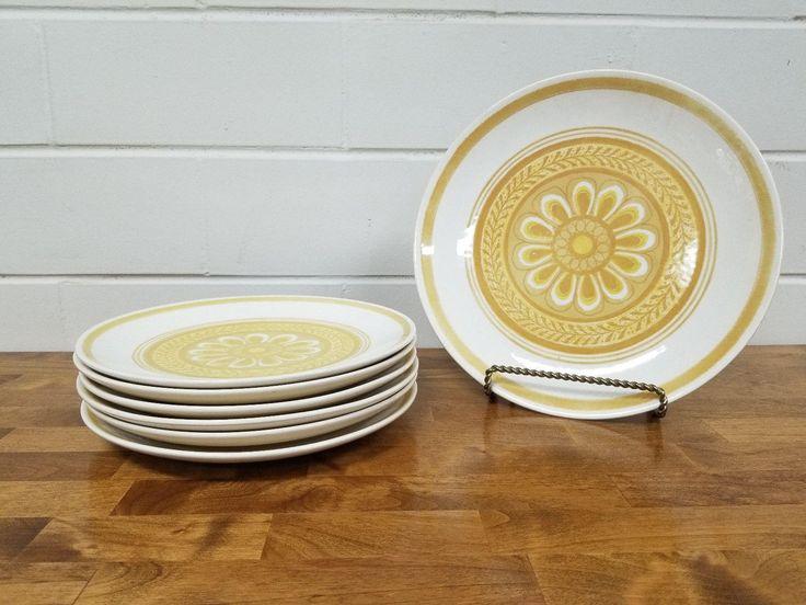 Vintage Dinnerware China Casablanca Cavalier Platter 6 Plates Retro Yellow Ironstone by TakeFiveVintage on Etsy