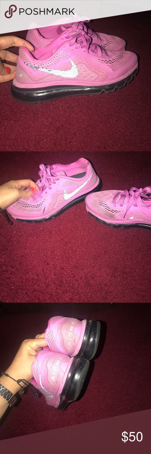 Nike air max pink purple color Good condition slight slit on side but other then avoid conditioner dusty need a good clean Nike Shoes Sneakers
