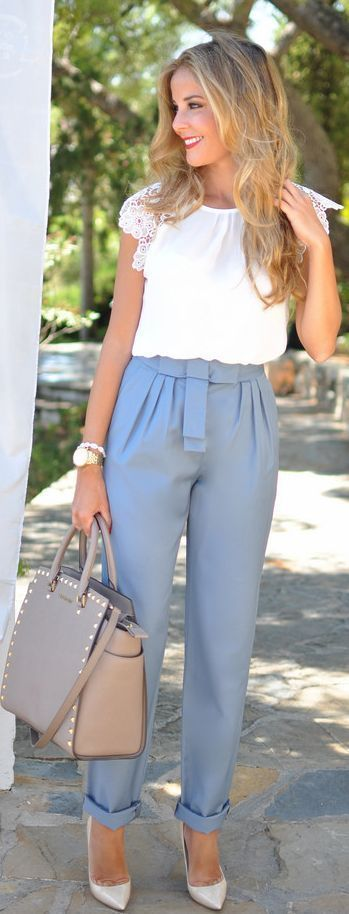 White Lace Blouse with High Pants Neutral Shoes and Rockstud Hand Bag