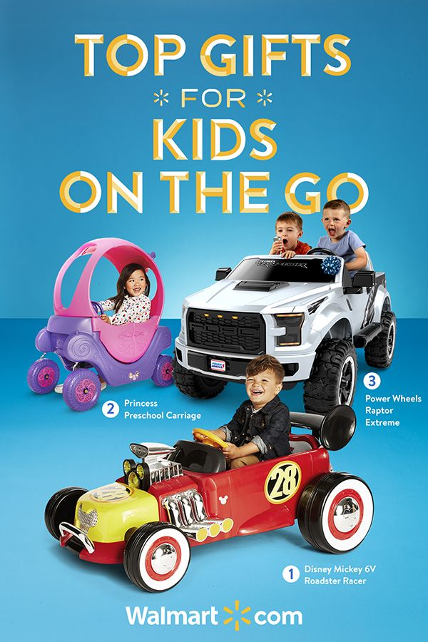 There is still time to find amazing gifts from Walmart. Put their little wheels in motion this Christmas with these top gifts and more.    Top Gifts for Kids on the Go include: Disney Mickey 6V Roadster Racer, Princess Preschool Carriage, Power Wheels Raptor Extreme