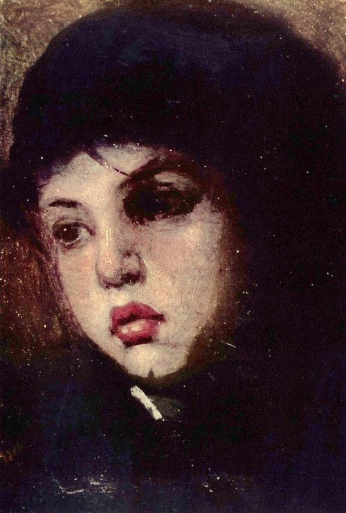Head of a Girl - Nicolae Grigorescu Active Years: 1856 - 1907 Nicolae Grigorescu was an important Romanian painter, considered one of the founders of modern Romanian painting(1838--1907)