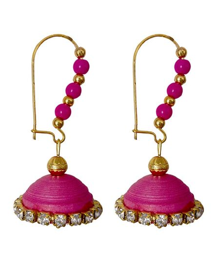 Pink Handmade Paper Jewellery Quilled earrings Jhumka - 1410 - Tia Women jewellery