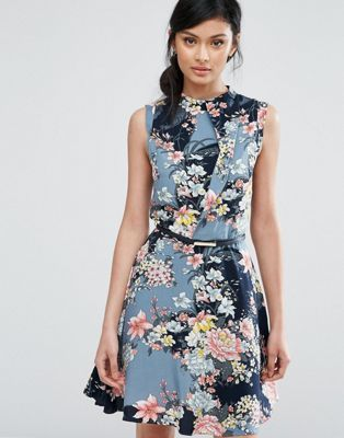 Oasis | Oasis Floral Print High Neck Belted Skater Dress