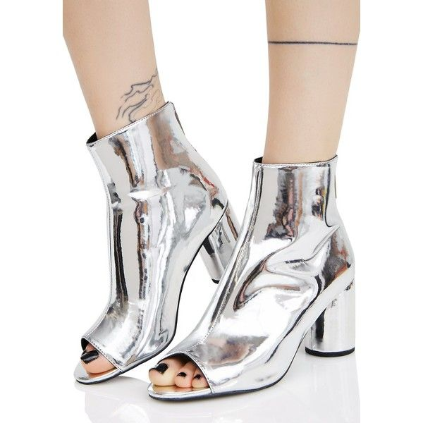 Current Mood Mirror Image Booties ($48) ❤ liked on Polyvore featuring shoes, boots, ankle booties, current mood, ankle length boots, silver metallic boots, chunky-heel boots and open toe booties