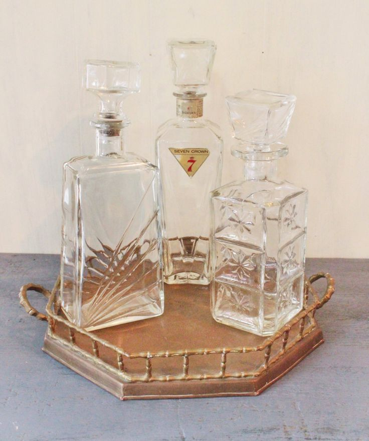 #vintage glass #decanters - #midcentury #barware bottles - set of 3 by ninedoorsvintage on Etsy #bar #entertaining #party #homedecor #bottle #glass #carafe #wine #liquor #vodka #cocktails #happyhour #interiors #homestyling #mcm #madmen #mod #retro #1960s #crownseven #atomicera #drinks