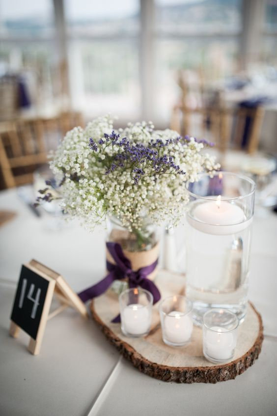 lavender and babys breath wedding centerpiece / http://www.deerpearlflowers.com/unique-wedding-centerpiece-ideas/2/