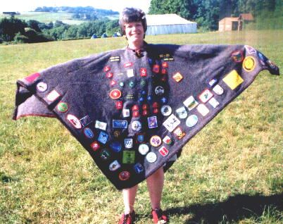 """Another leader blanket that I photographed at Kingsdown Scout Camp in 2000.  Gray is a popular color for blankets - possibly because U.K. soldier blankets are made from this color. Whereas in the USA when you think of an """"army blanket"""" it's an olive green."""