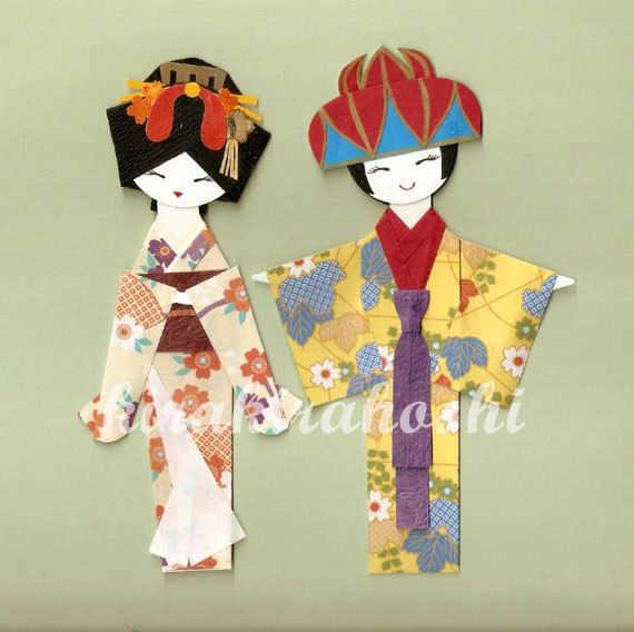 Origami JAPANESE GEISHA and OKINAWAN Girl in Kimono Paper Doll Card Topper (Set of 2)