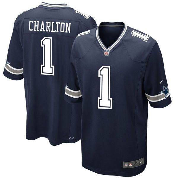 Men's Dallas Cowboys Taco Charlton Nike Navy 2017 Draft Pick Game Jersey