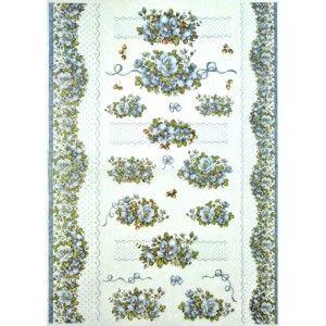 Papír rýžový 35x50 Krajka a květy modré
